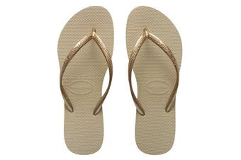 Havaianas Slim Metallic Thongs (Light Gold)
