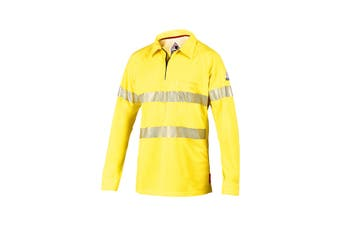 Hard Yakka Women's Bulwark iQ Flame Resistant Hi-Vis Taped Long Sleeve Polo (Yellow, Size M)