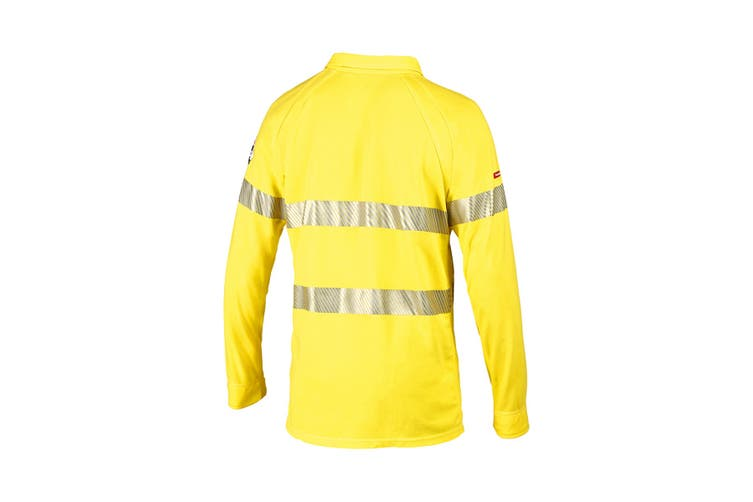 Hard Yakka Women's Bulwark iQ Flame Resistant Hi-Vis Taped Long Sleeve Polo (Yellow, Size L)