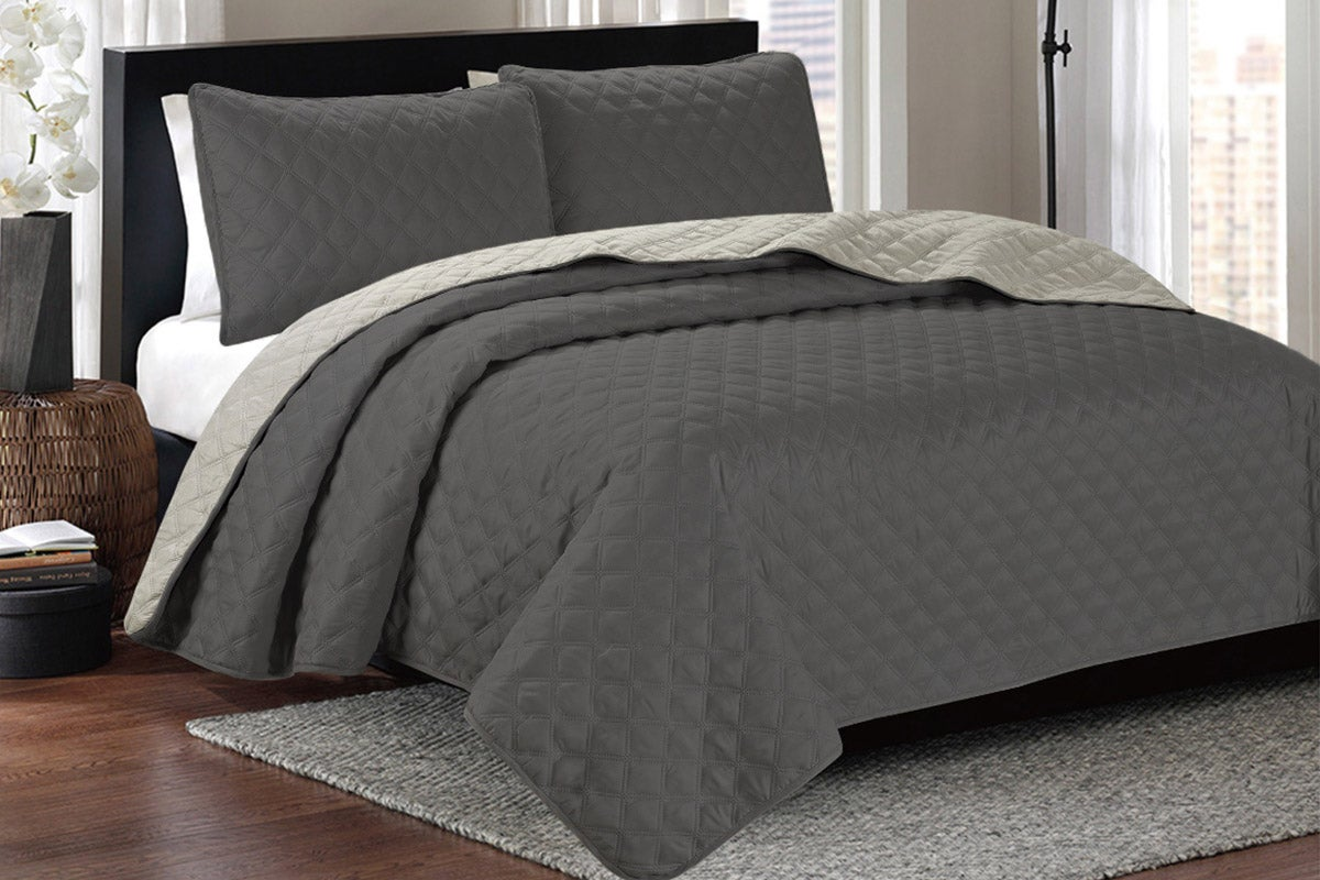 Ardor Boudoir Kingston Reversible Coverlet Set (Charcoal/Natural)