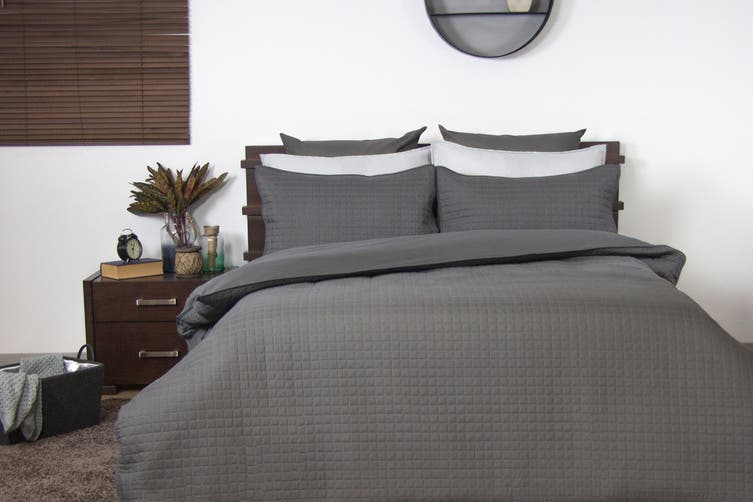 Ardor Boudoir Quilted Quilt Cover Set (Queen, Charcoal)