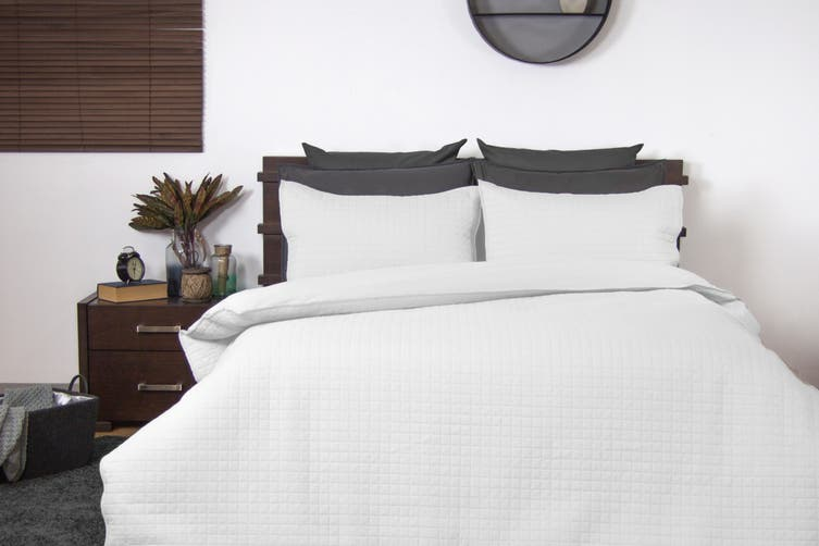 Ardor Boudoir Quilted Quilt Cover Set (Queen, White)