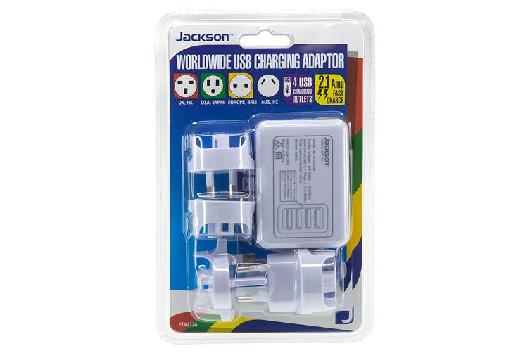 Jackson Worldwide 4 Port Fast Charge USB Travel Adapter - 2Amp (PTA7724)