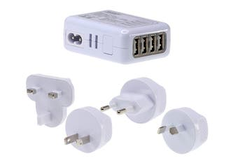 Jackson Worldwide 4 Port Fast Charge USB Travel Adapter - 2Amp (PTA7724)
