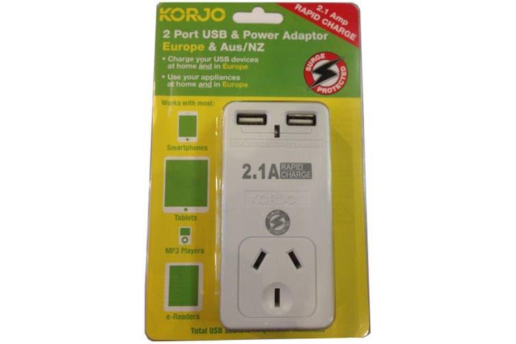 Korjo 2 Port USB & Power Adapter (Australia & Europe)