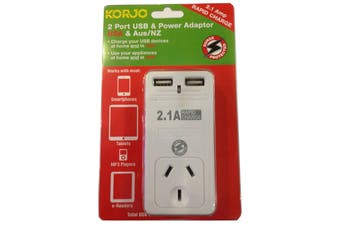 Korjo 2 Port USB & Power Adapter (Australia & US)