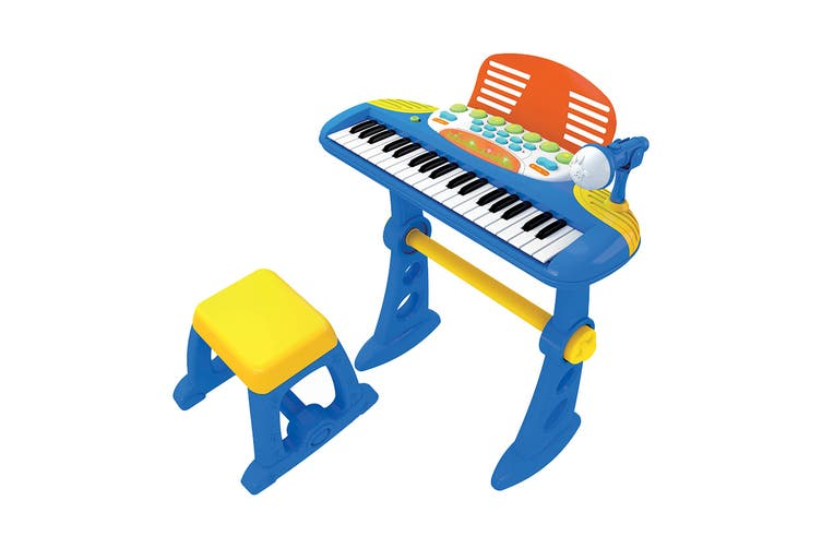 Electronic Kids Keyboard With Stand And Stool - Blue