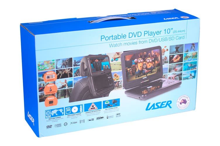 "Laser Portable DVD Player 10"" With Bonus Pack"