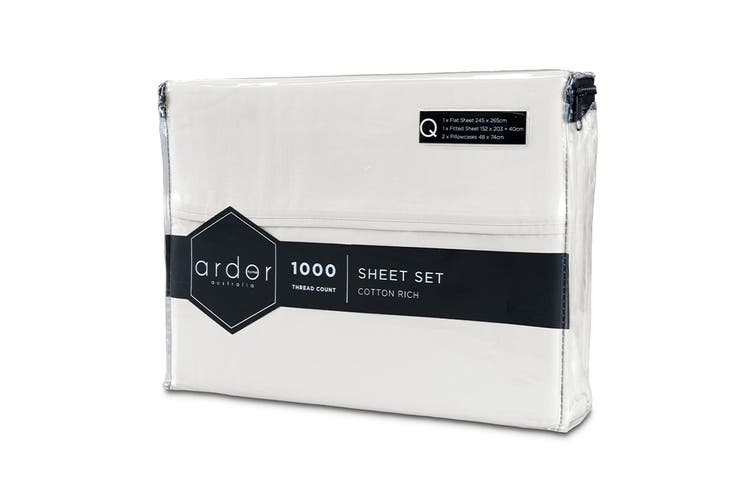 Ardor 1000TC Luxury Sheet Set (Queen, White)