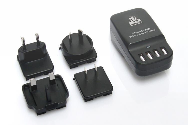mbeat Gorillia Power 34W 4 Port USB Travel Charger - US/UK/EU/AU (CHGR-4U-BLK)