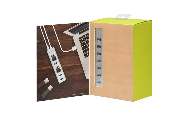 mBeat 7-Port USB 3.0 Aluminum Slim Hub with Power for PC and MAC