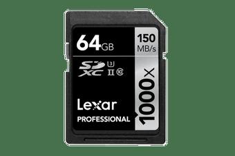 Lexar 64GB Professional SDHC/SDXC UHS-II Card (1000x)