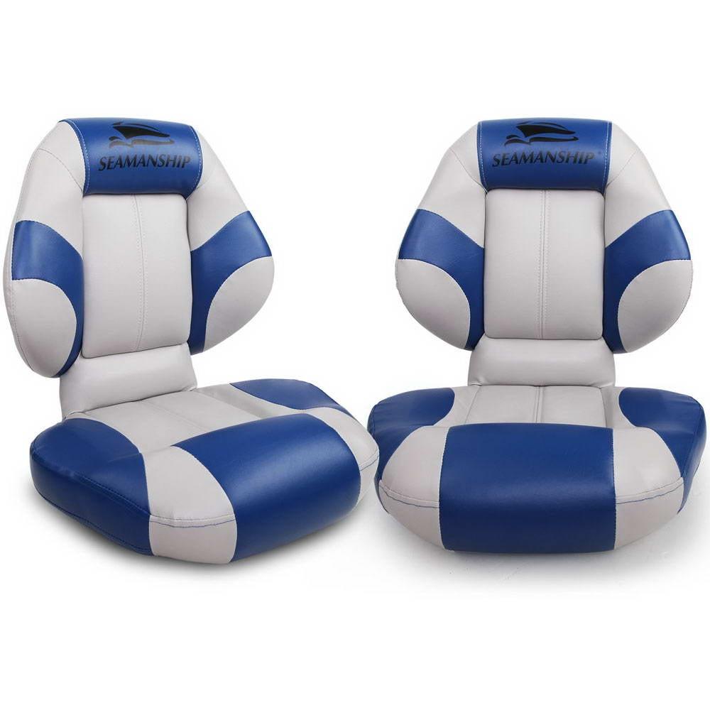 Set of 2 Folding Rotatable Boat Seats (Grey/Blue)