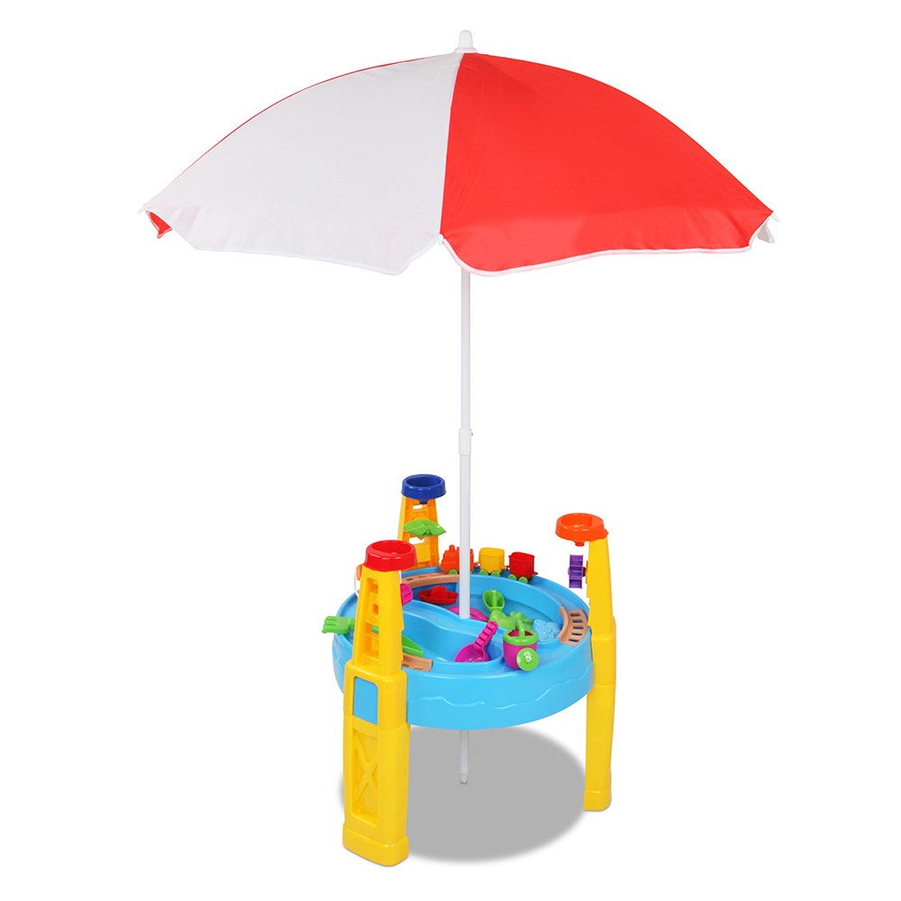 kids sand and water table play set with umbrella compare club. Black Bedroom Furniture Sets. Home Design Ideas