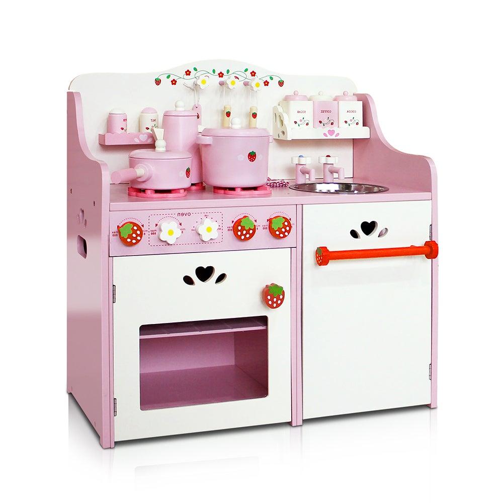 Kogan children wooden kitchen play set pink compare club for Kids complete kitchen set