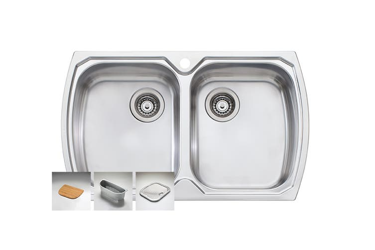 Oliveri Monet Double Bowl Topmount Sink (MO763-1TH)