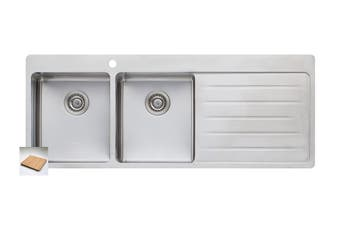 Oliveri Sonetto Double Bowl Topmount Sink With Drainer (SN1071)