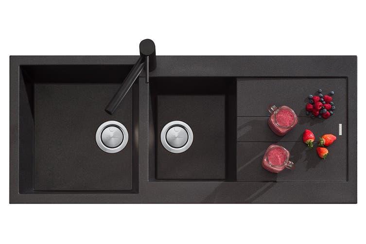 Oliveri Santorini Black 1 & 3/4 Bowl Topmount Sink With Drainer (ST-BL1510)