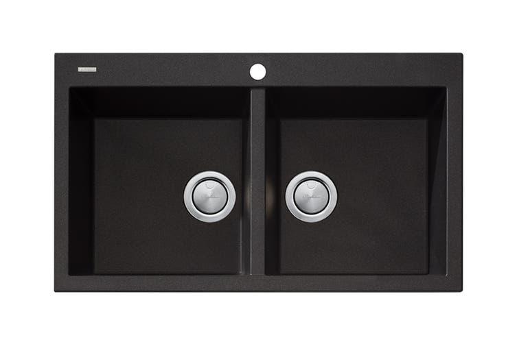 Oliveri Santorini Black Double Bowl Topmount Sink (ST-BL1564)