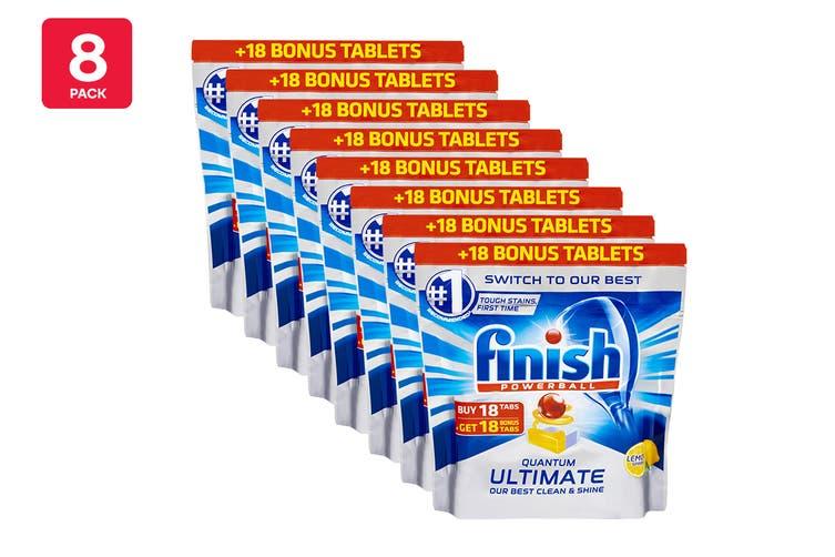 288 Finish Quantum Ultimate Powerball Dishwashing Tablets - Lemon (8 x 36 Pack)