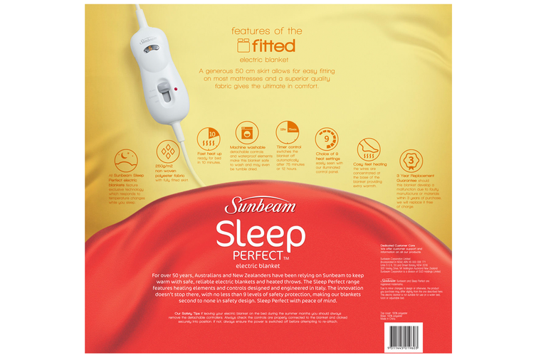 Sunbeam Sleep Perfect Fitted Heated Electric Blanket - Queen (BL5151)
