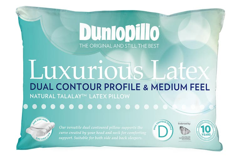 Dunlopillo Luxurious Latex Contour Dual Profile Pillow (Medium Feel)