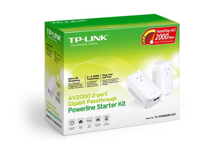 TP-Link 2-Port Gigabit AV2000 Passthrough Powerline Starter Kit (PA9020P)