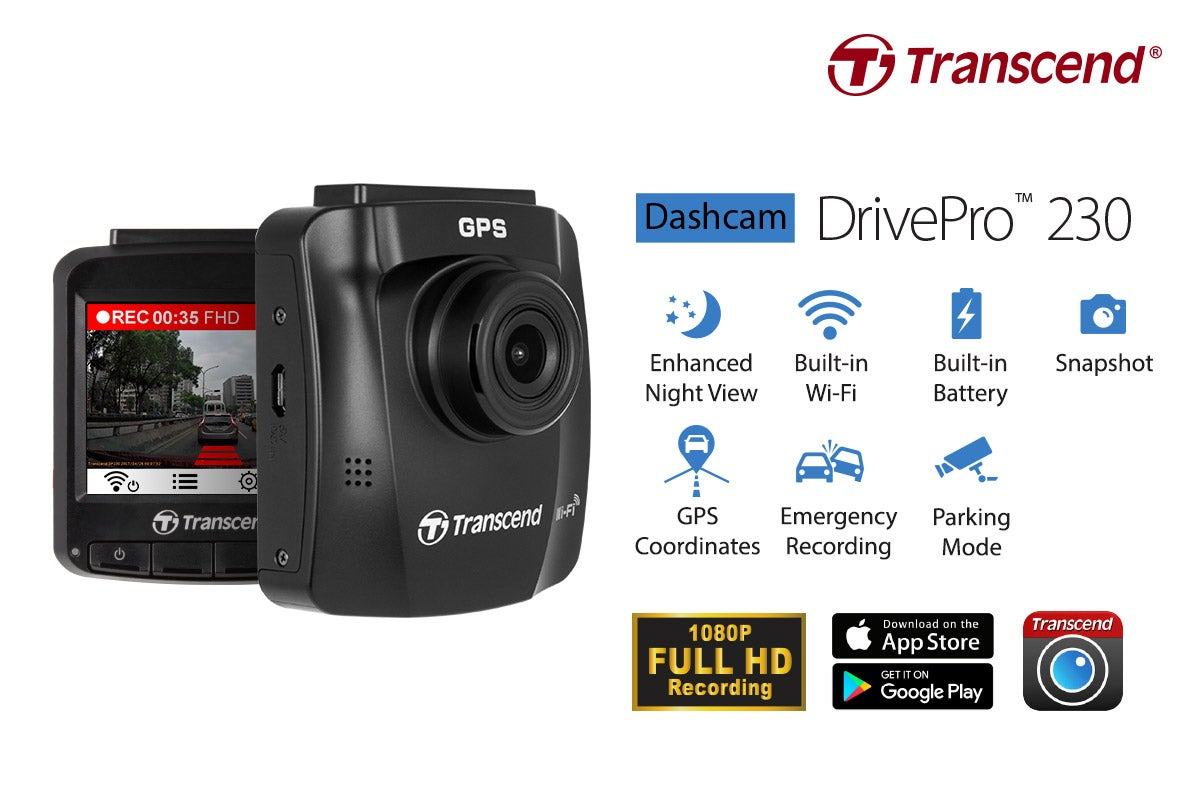transcend drivepro 230 dash cam with sony exmor sensor. Black Bedroom Furniture Sets. Home Design Ideas