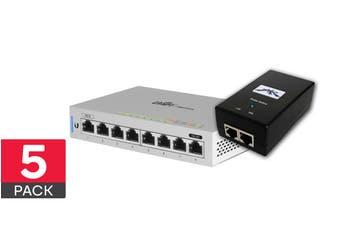 5-Pack Ubiquiti UniFi 8 Port Gigabit Switch & POE Injectors  (US-8-5)