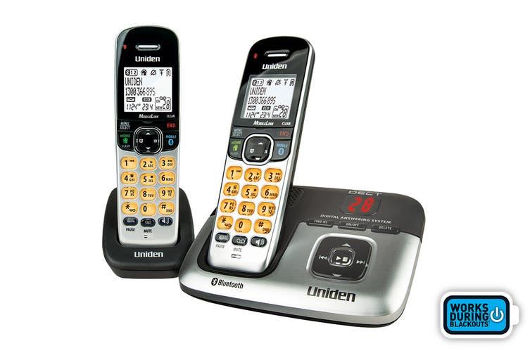 Uniden Premium Bluetooth DECT Digital Cordless Phone System with Answering Machine (2 Phones)