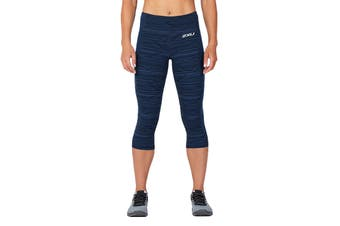 2XU Women's Fitness Compression 3/4 Tights (Black Lapis Blue Wave/Est Blue)