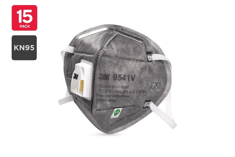 3M 9541V KN95 Particulate Respirator Mask with Valve (15 Pack)