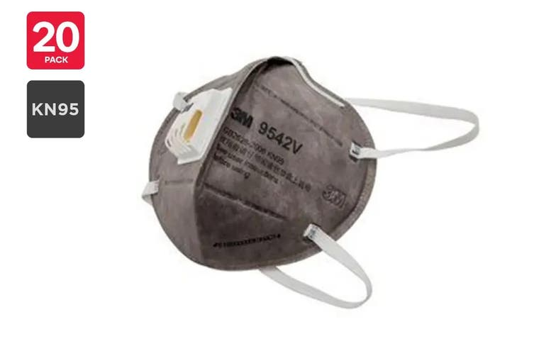 3M 9542V KN95 Particulate Respirator Mask with Valve (20 Pack)