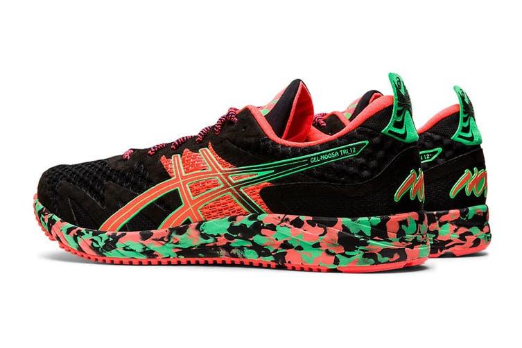 ASICS Men's Gel-Noosa Tri 12 Running Shoe (Black/Flash Coral, Size 8 US)