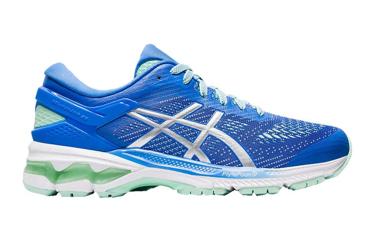 ASICS Women's Gel-Kayano 26 Running Shoe (Blue Coast/Pure Silver, Size 7.5 US)