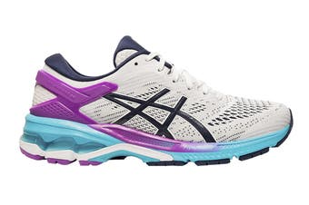 ASICS Women's Gel-Kayano 26 Running Shoe (White/Peacoat, Size  7 US)
