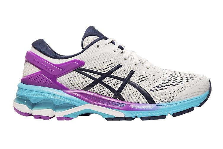 ASICS Women's Gel-Kayano 26 Running Shoe (White/Peacoat, Size  9.5 US)