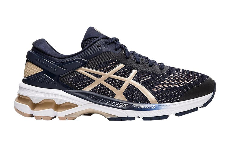 ASICS Women's Gel-Kayano 26 Running Shoe (Midnight/Frosted Almond, Size  6.5 US)