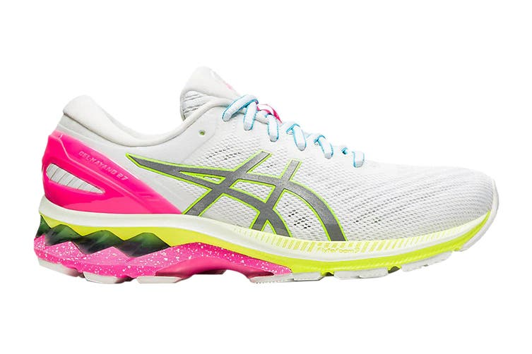 ASICS Women's Gel-Kayano 27 Lite-Show Running Shoe (White/Pure Silver, Size 10 US)