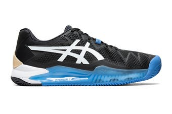 ASICS Men's Gel-Resolution 8 Clay Tennis Shoe (Black/White, Size 8.5 US)