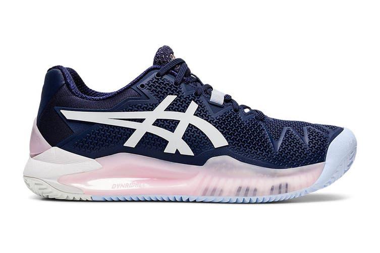 ASICS Women's Gel-Resolution 8 Clay Tennis Shoe (Peacoat/White, Size 8 US)