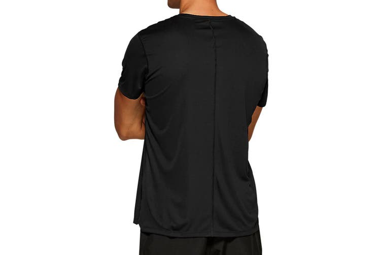ASICS Men's Running Silver Short Sleeve Top (Performance Black, Size M)