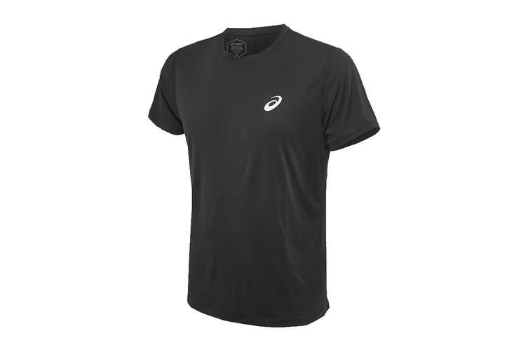ASICS Men's Running Silver Short Sleeve Top (Performance Black, Size XL)