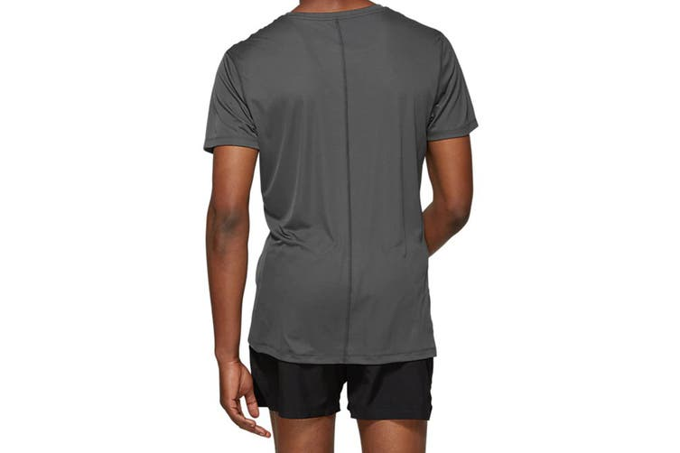ASICS Men's Running Silver Short Sleeve Top (Dark Grey, Size L)