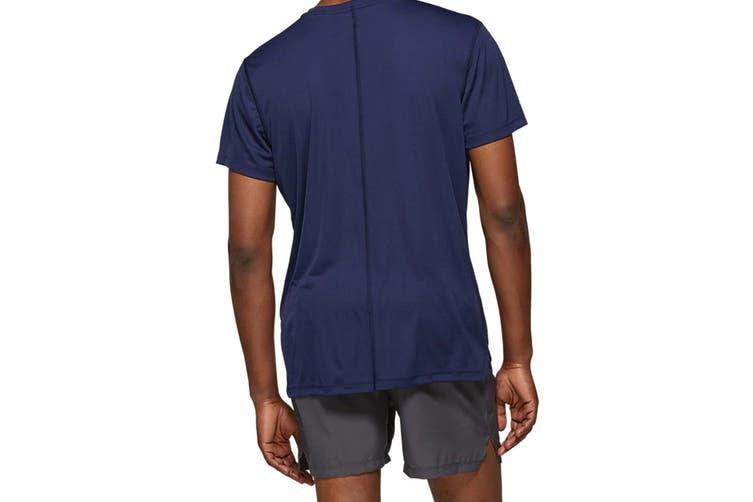ASICS Men's Running Silver Short Sleeve Top (Peacoat, Size L)