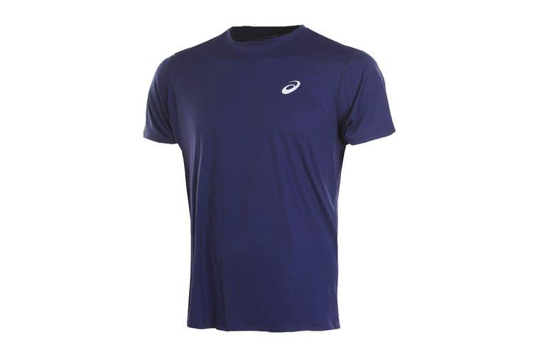 ASICS Men's Running Silver Short Sleeve Top (Peacoat, Size M)