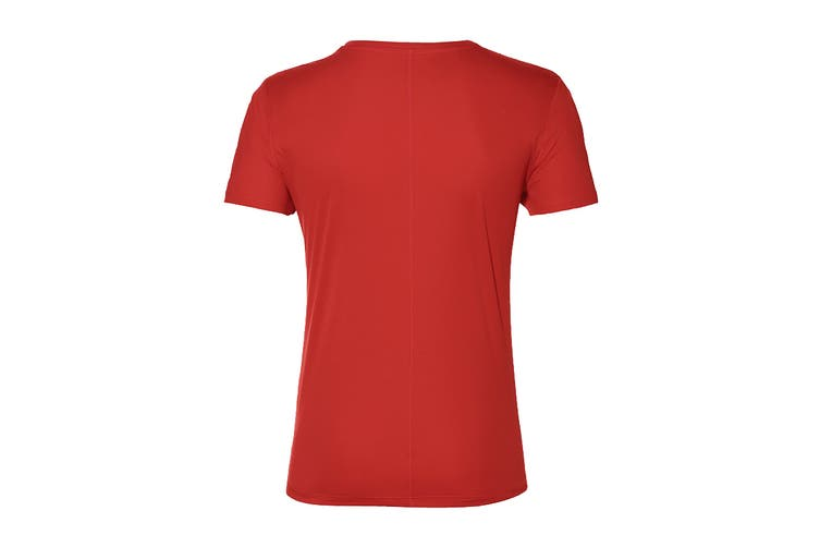 ASICS Men's Running Silver Short Sleeve Top (Classic Red, Size L)