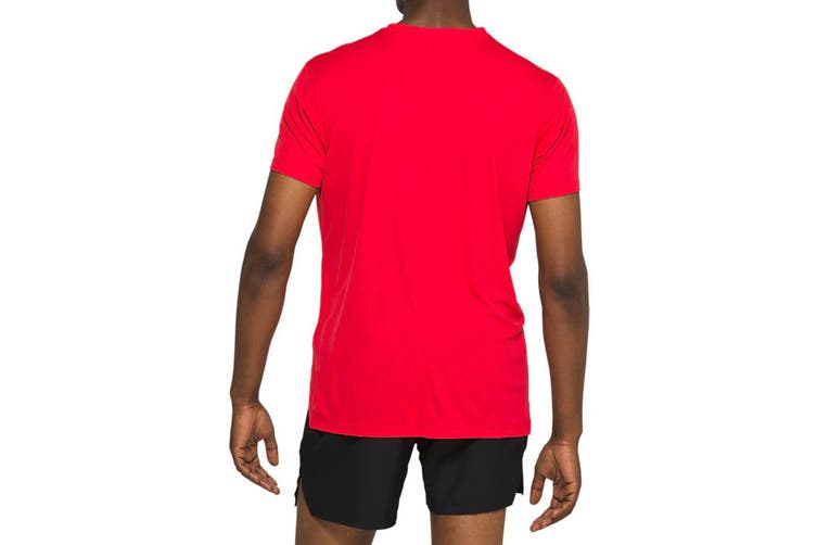 ASICS Men's Running Silver Short Sleeve Top (Classic Red, Size S)