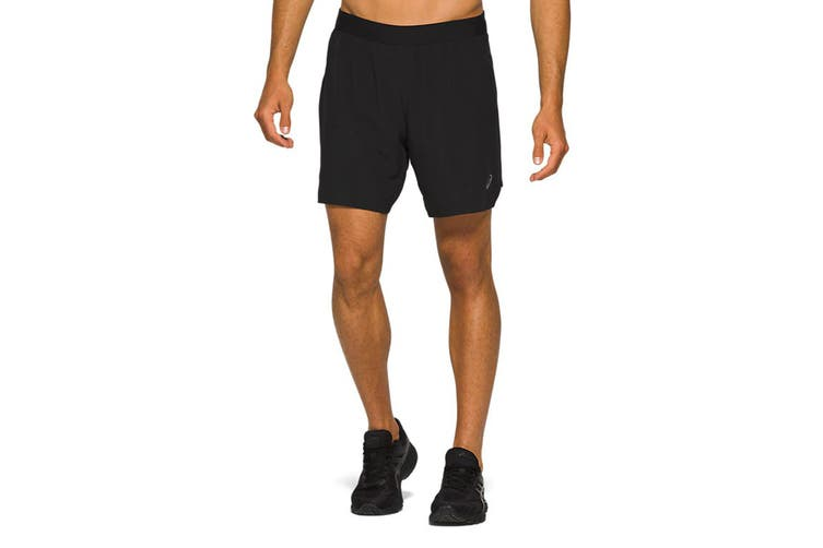 ASICS Men's Road 2-N-1 Shorts (Performance Black, Size XL)