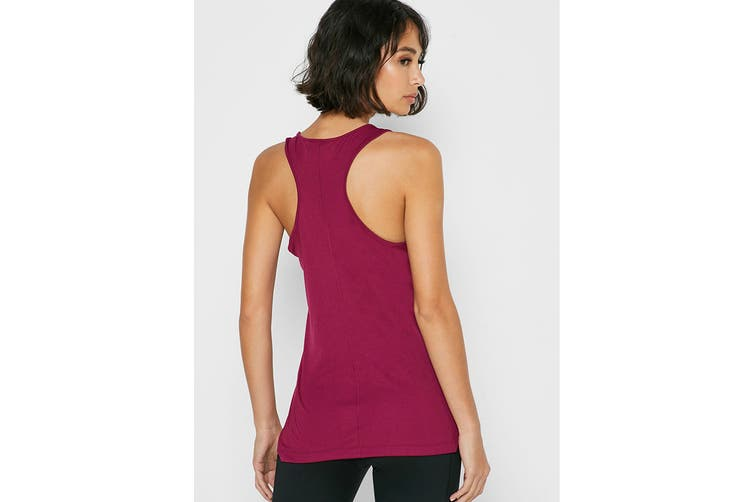 ASICS Women's Running Silver Tank (Dried Berry/Classic Red, Size L)
